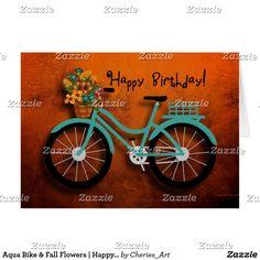 Aqua Bike & Fall Flowers | Happy Birthday! Card