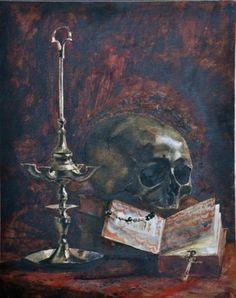 Léon Bonnat (1833-1922) -  Vanité au chandelier et au missel - Aquarelle