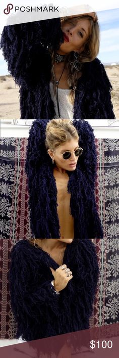 Rat and boa zaffre fringe jacket Great condition. Worn once. More navy blue than pictures show. Size- s/m 100% acrylic popcorn yarn. Length 52cm sleeve length 45cm width 45cm. rat and boa Sweaters Cardigans