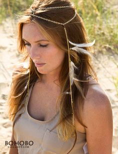 Fadient Feather Headdress, Gold Chain and Removable Dangling Feather Fringe