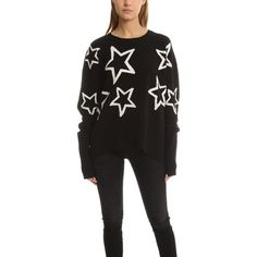 Markus Lupfer Intarsia Erin Sweater (¥44,990) ❤ liked on Polyvore featuring tops, sweaters, home, women's, star sweaters, white top, merino wool sweater, crew neck pullover sweater and pullover sweater
