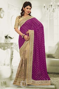 http://www.mangaldeep.co.in/sarees/groovy-magenta-and-beige-designer-saree-5570 For further inquiry whatsapp or call at +919377222211