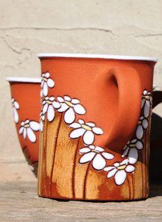 Taza de té con flores / motivo de margaritas  idea de regalo