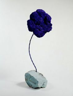 Yves Klein / Blue Sponge (L'eponge bleue) / 1959 / Dry pigment in synthetic resin on sponge with metal rod and stone base (Guggenheim Collection) Yves Klein Blue, Nouveau Realisme, Museums In Nyc, French Artists, Vintage Designs, Contemporary Art, Creations, Artwork, Inspiration