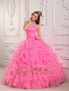 Romantic Rose Pink Quinceanera Dress Sweetheart Organza Beading Ball Gown  http://www.fashionos.com  satin quinceanera dress | pretty quinceanera dress |