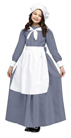 #AdoreWe Trendy Halloween Costumes - Fun World - Grey Pilgrim Girl Child Costume - AdoreWe.com