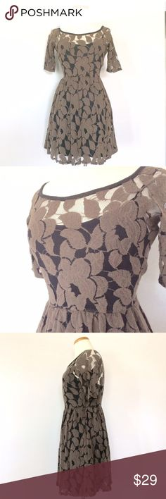 """Anthro Fall Leaves Dress By Sparrow. Love this Dress! Get a head start for fall! Beautiful lead patter with side zip and detachable slip. Measurements: Bust 16"""" Waist 13"""" Length 34"""" Anthropologie Dresses"""