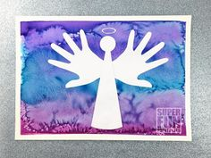 Christmas handprint art in peace dove, reindeer and angel designs. Create a process art background using liquid watercolour and salt, then use the printable template and handprint shapes to create the silhouette art Student Christmas Gifts, Christmas Gifts For Grandma, Old Christmas, Christmas 2019, Christmas Ideas, Christmas Artwork, Christmas Paper Crafts, Preschool Christmas, Crafts For 2 Year Olds