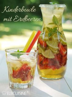 Strawberry-lime-mint-punch - fast and ideal for kids - Bowle - Best Food Smoothies For Kids, Healthy Smoothies, Healthy Drinks, Healthy Recipes, Best Smoothie, Smoothie Drinks, Smoothie Recipes, Summer Drinks, Cocktail Drinks
