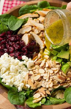 Mmmm this looks good!    Cranberry Avocado Spinach Salad with Chicken and Orange Poppy Seed Dressing - Cooking Classy