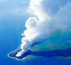 """This powerful underwater volcano erupting in the south Pacific created a new island off the coast of Tonga. Tonga, a 170-island archipelago between Australia and Tahiti, is part of the Pacific """"ring of fire"""" - an arc of earthquake and volcanic zones stretching from Chile in South America through Alaska and down through Vanuatu to Tonga."""