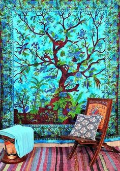 ENCHANTING NEW TURQUOISE TREE OF LIFE WALL HANGING/TAPESTRY