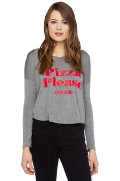 The Pizza Please Chicago Top in Grey/Red features a wide neckline, long sleeves, extended back hem, and a soft boxy body with graphics along front. Free standard U.S. shipping $75+.