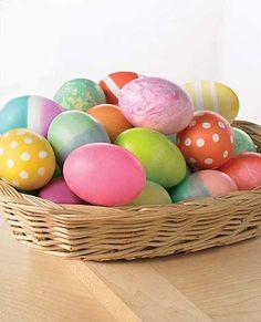 Easter Eggs dye using food color -- 1/2 c boiling H2O, 1 tsp white vinegar, + food coloring!