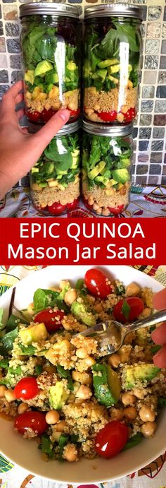 This quinoa chickpea mason jar salad is so filling and refreshing! This is my favorite quinoa salad ever, I'm making it for lunch! paleo lunch for work Mason Jar Lunch, Mason Jar Meals, Meals In A Jar, Mason Jars, Clean Eating, Healthy Eating, Healthy Lunches, Salad In A Jar, Cooking Recipes