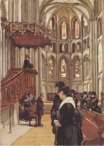 Prayer in the Saint Pierre Cathedral in Geneva - Ferdinand Hodler