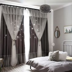 Black And Grey Curtains, Black Curtains Bedroom, Black And Grey Bedroom, Dark Curtains, White Sheer Curtains, White Bedroom, Curtains Living, Modern Curtains, Sliding Panel Curtains