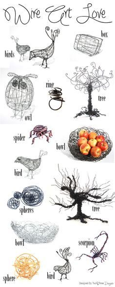 Wire objects, wire art sculpture, WIRE ART LOVE! Check them out on our store at www.store.twoandthreedesigners.com