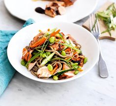 Teriyaki salmon and edamame soba noodle salad - Healthy Food Guide Healthy Salads, Healthy Eating, Healthy Food, Healthy Gluten Free Recipes, Real Food Recipes, Lunches And Dinners, Meals, Teriyaki Salmon, Teriyaki Sauce