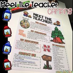 Meet the Teacher Newsletter- EDITABLE - Camping theme! Perfect for Back to School, Open House, or Meet the Teacher night! Great for all grade levels and subject areas!