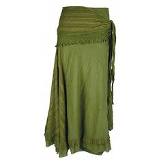 Long Cotton Skirt with Attached Shawl