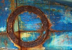 blue paint and rust - I love the color contrasts!