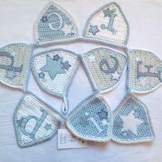 Blue crochet name bunting