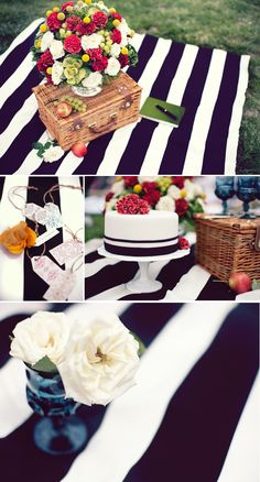 black and white #stripes #picnic (photography by YouGoIGoWeGo; cake by Lisa Vivo Custom Cakes; styling and floral design by Tinsel & Twine)