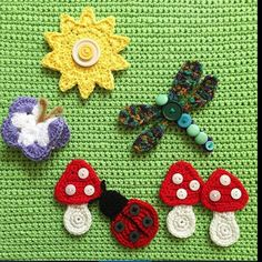#repost from the talented and caring Melanie @seaville . Melanie sent these beautiful crochet appliqués to me for the Memorial Flower Garden Yarnbomb. Aren't they gorgeous? I have already sewn the toadstools and sun onto the base but have to wait for my other crafty gang members to send me their pieces before adding the critters. Thank you Melanie - you are appreciated!  #queenbabs #crochet #yarnbomb #FAF #yarnbombeverything #makethestreetsbeautiful #ilovecrochet #yarn #knit #make #craft…