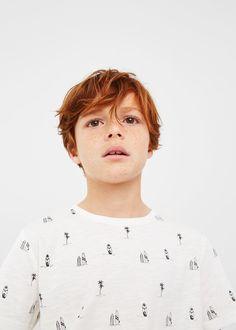 Desenli koton tişört - Erkek çocuk | MANGO Kids Türkiye