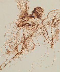Guercino (Giovanni Francesco Barbieri, 1591–1666), The Angel of the Annunciation, 1646, Pen | 23.7 x 16.8 cm