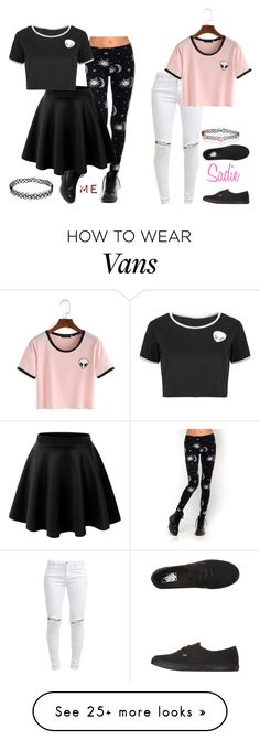 """""""My Style Vs. Sadie's: Alien crop-top and a choker"""" by lifesucks-musichelps on Polyvore featuring Motel, FiveUnits, LE3NO, WithChic, Vans and Accessorize"""