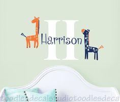 Giraffe Wall Decal for baby nursery Harper by ToodlesDecalStudio