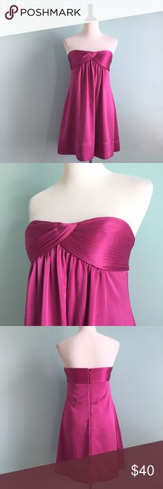 BCBGMAXAZRIA Fuchsia Dress BCBGMaxAzria strapless fuchsia dress. Subtle pleating on bodice. Empire waist. 100% polyester. Size 6. In excellent condition. BCBGMaxAzria Dresses Strapless