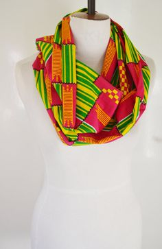 Tribal African Kente Wax Infinity Cotton Scarf Snood by naomianagu, £19.99