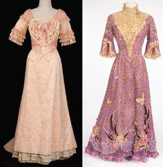 """Unsinkable Molly Brown (1964) 1. Hermione Baddeley """"Buttercup Grogan"""" peach silk floral gown 2. Debbie Reynolds """"Molly Brown"""" signature lavender lace gown"""