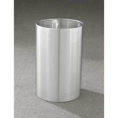 18 Gallon 15 X 23 Open Top Office Wastebasket Satin Aluminum Outdoor Indoor Trash Cans Recycle Bins Ashtrays For Commercial Or Home