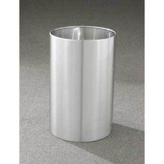 36 Qt Large Open Wastebasket 29 Gallon Half Round Open Top Trash Can Satin Black  Bathroom Trash