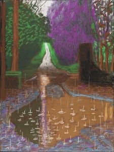 """""""THE ARRIVAL OF SPRING IN WOLDGATE, EAST YORKSHIRE IN 2011 (TWENTY ELEVEN) - 18 DECEMBER"""" IPAD DRAWING PRINTED ON FOUR SHEETS OF PAPER (46 1/2 X 35"""" EACH), MOUNTED ON FOUR SHEETS OF DIBOND 93 X 70"""" OVERALL EDITION OF 10 © DAVID HOCKNEY PHOTO CREDIT: RICHARD SCHMIDT"""