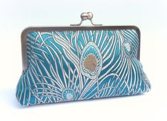 Bridal clutch bag teal peacock wedding by ConstanceHandcrafted, $50.00
