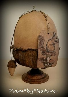 Primitive Acorn Pinkeep with Squirrel Tag Fall Autumn Offering Prim*by*Nature