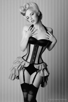 ::pin up hair::corset::thigh highs::curls::blonde::pin up::pin up girls::vintage lingerie::NoEllie0123