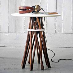 Bundle Side Table Walnut White