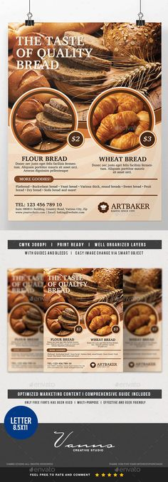 #Bakery Product #Flyer - Commerce Flyers Download here: https://graphicriver.net/item/bakery-product-flyer/19728716?ref=alena994