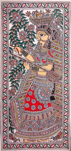 Indian Artwork, Indian Art Paintings, Indian Folk Art, Madhubani Art, Madhubani Painting, Durga Painting, Sketch Painting, Drawing Sketches, Art Drawings