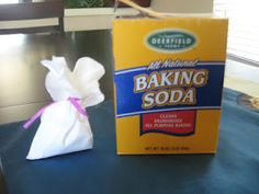 Make Baking Soda Sachets out of coffee filters to put in stinky shoes or small places that need deodorizing!