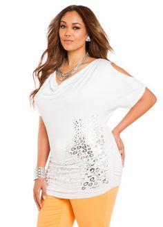721c877bb83d47  WhiteHot Ashley Stewart Animal Foil Cold-Shoulder Top