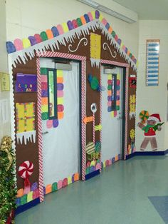 Gingerbread house door decoration & Christmas Holiday Door decoration for school. Gingerbread house ...