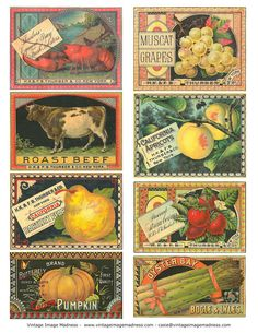 CAN and CRATE LABELS Vintage Images - Instant Download Digital Collage Sheet