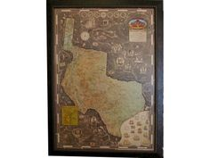 Texas Oklahoma New Mexico Arkansas Louisiana Vintage Map framed in